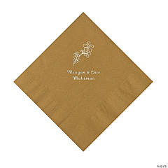 Gold Blossom Branch Personalized Napkins with Silver Foil - Luncheon