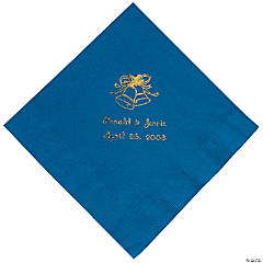 Gold Blue Wedding Luncheon Napkin