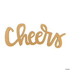 Gold Cheers Calligraphy Cutout Sign