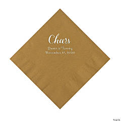 Gold Cheers Personalized Napkins with Silver Foil - Luncheon