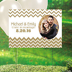 Gold Chevron Custom Photo Yard Sign