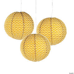 Gold Chevron Hanging Paper Lanterns
