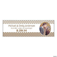 Gold Chevron Medium Custom Photo Banner