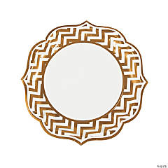 Gold Chevron Scalloped Edge Dinner Plates
