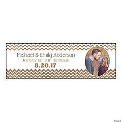 Gold Chevron Small Custom Photo Banner