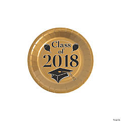 Gold Class of 2018 Grad Party Dessert Paper Plates