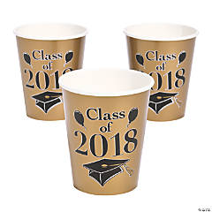 Gold Class of 2018 Grad Party Paper Cups