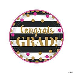 Gold Confetti Graduation Paper Dinner Plates