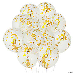 Gold Confetti Latex Balloons