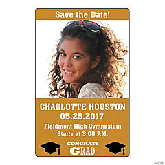 Gold Congrats Grad Custom Photo Magnets