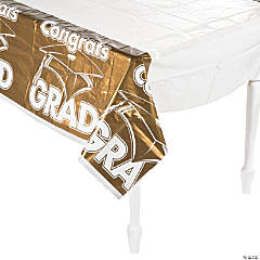 Gold Congrats Grad Plastic Tablecloth