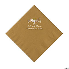 Gold Congrats Personalized Napkins with Silver Foil - Luncheon