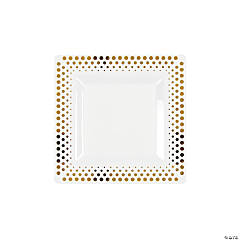 Gold Dot Plastic Dessert Plates