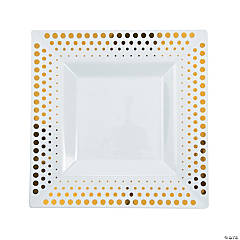 Gold Dot Square Plastic Dinner Plates