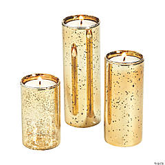 Gold-Flecked Mercury Cylinder Candle Holders