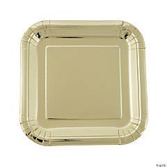 Gold Foil Square Paper Dinner Plates