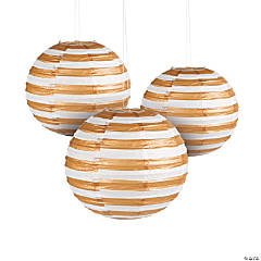 Gold Foil Striped Hanging Paper Lanterns