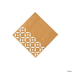Gold Geometric Beverage Napkins