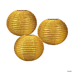 Gold Glitter Hanging Paper Lanterns