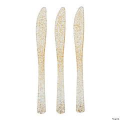 Gold Glitter Premium Plastic Knives