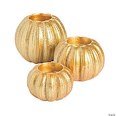 Gold Glitter Pumpkin Votive Holders