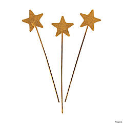 Gold Glittery Star Wands
