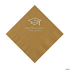 Gold Grad Mortarboard Personalized Napkins with Silver Foil – Luncheon