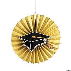 Gold Graduation Hanging Fans with Icons