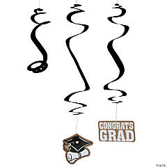 Gold Graduation Hanging Swirl Decorations