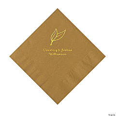 Gold Heart Leaf Personalized Napkins with Gold Foil - Luncheon