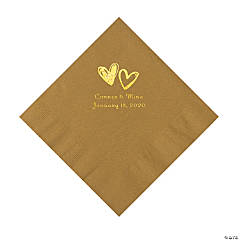 Gold Hearts Personalized Napkins with Gold Foil - Luncheon