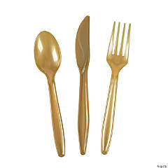 Gold High Count Plastic Cutlery Sets