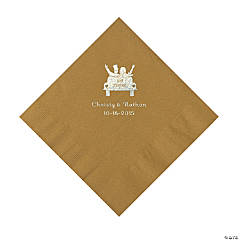 Gold Just Married Personalized Napkins - Luncheon