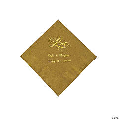 "Gold ""Love"" Personalized Napkins with Gold Foil - Beverage"