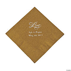 "Gold ""Love"" Personalized Napkins with Silver Foil - Luncheon"