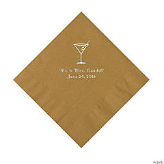 Gold Martini Glass Personalized Napkins with Silver Foil - Luncheon