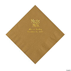 Gold Mr. & Mrs. Personalized Napkins with Gold Foil - Luncheon
