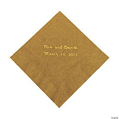 Gold Personalized Beverage Napkins with Gold Print