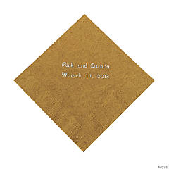 Gold Personalized Beverage Napkins with Silver Print