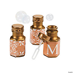 Gold Personalized Monogram Wedding Mini Bubble Bottles