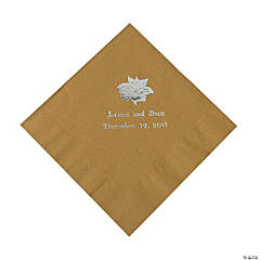 Gold Personalized Poinsettia Luncheon Napkins - Silver Print