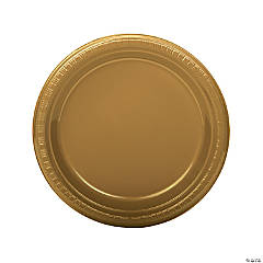 Gold Plastic Dinner Plates - 20 Pc.