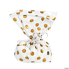 Gold Polka Dot Cellophane Bags