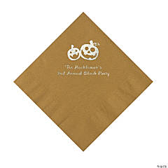 Gold Pumpkin Personalized Napkins with Silver Foil – Luncheon