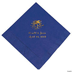 Gold Purple Personalized Wedding Luncheon Napkin