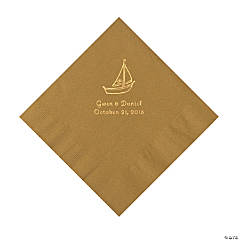 Gold Sailboat Personalized Napkins with Gold Foil - Luncheon