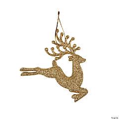Gold Sparkle Reindeer Ornaments