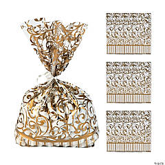 Gold Swirl Cellophane Bags