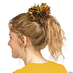 Gold Team Spirit Metallic Hair Pom-Pom
