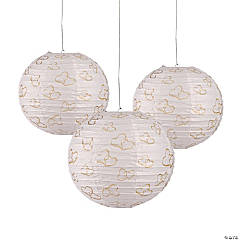 Gold Two Hearts Paper Lanterns